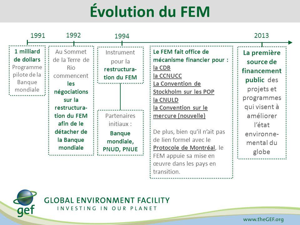Processus : Calendrier Avril 2013 (Paris) Septembre 2013 (à déterminer) Novembre 2013 (Washington) Février 2014 (à déterminer) Documents de référence Documents portant sur : – Le positionnement stratégique – La programmation – Le cadre daction Stratégie du FEM pour 2020 Cinquième bilan global du FEM (Bureau de lévaluation du FEM) Reconstitution des ressources pour FEM-6 (3/3)
