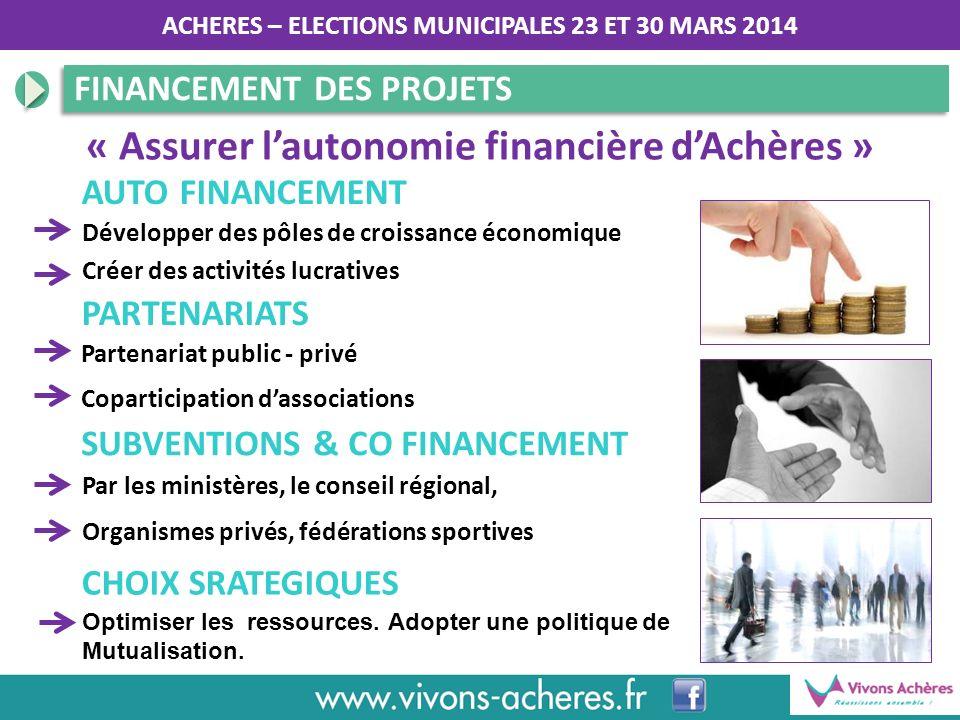 ACHERES – ELECTIONS MUNICIPALES 23 ET 30 MARS 2014 FINANCEMENT DES PROJETS SUBVENTIONS & CO FINANCEMENT « Assurer lautonomie financière dAchères » Par