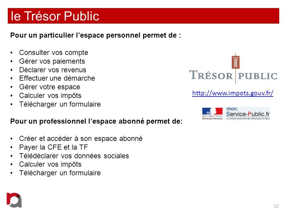 le Trésor Public 12 http://www.impots.gouv.fr/ Pour un particulier lespace personnel permet de : Consulter vos compte Gérer vos paiements Déclarer vos