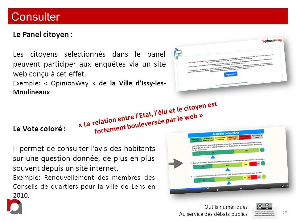 Echanger 1/2 24 Extranet citoyen: Ce sont des espaces en ligne qui peuvent offrir de nombreux moyens déchanges : écriture collaborative, partage de documents, diffusion dinformations, forums, cartes, agendas, publications, commentaires, vote coloré, flux RSS, etc.