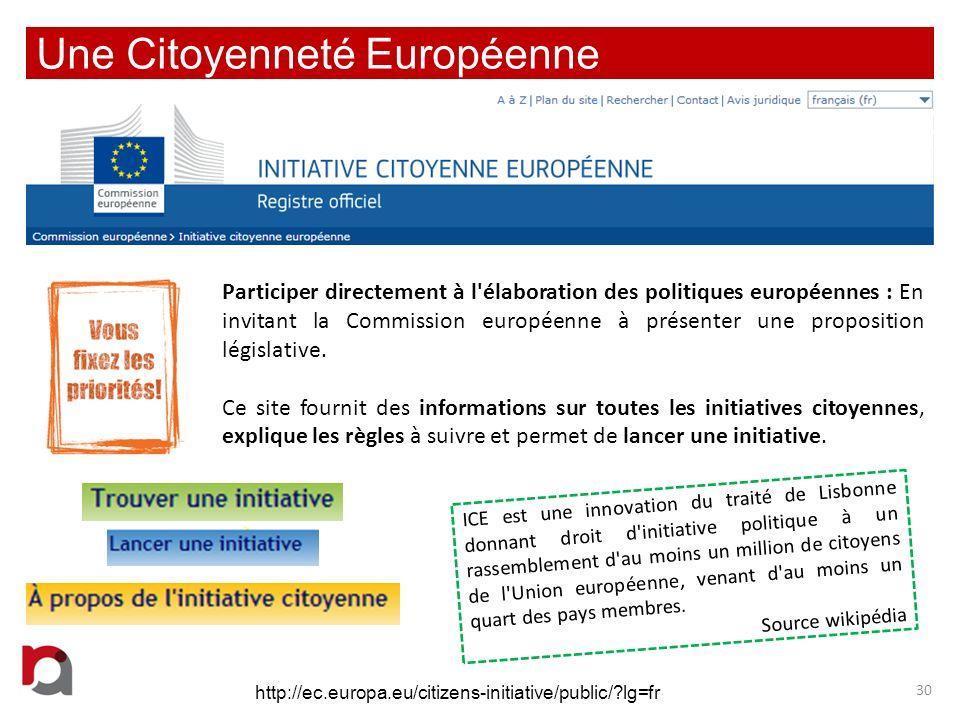 Une Citoyenneté Européenne 30 Participer directement à l'élaboration des politiques européennes : En invitant la Commission européenne à présenter une
