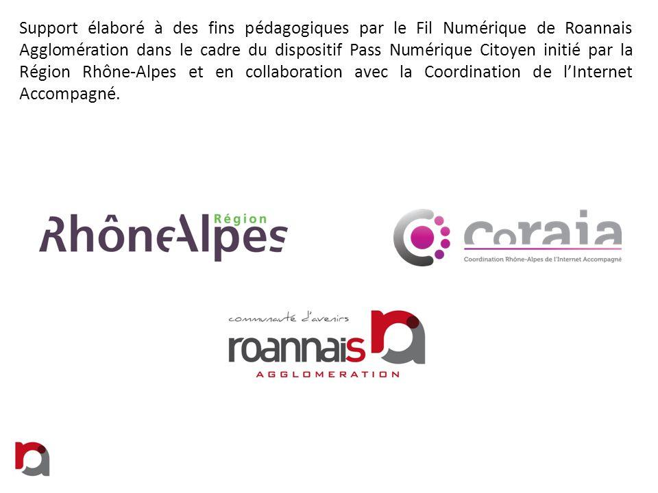 Support élaboré à des fins pédagogiques par le Fil Numérique de Roannais Agglomération dans le cadre du dispositif Pass Numérique Citoyen initié par l