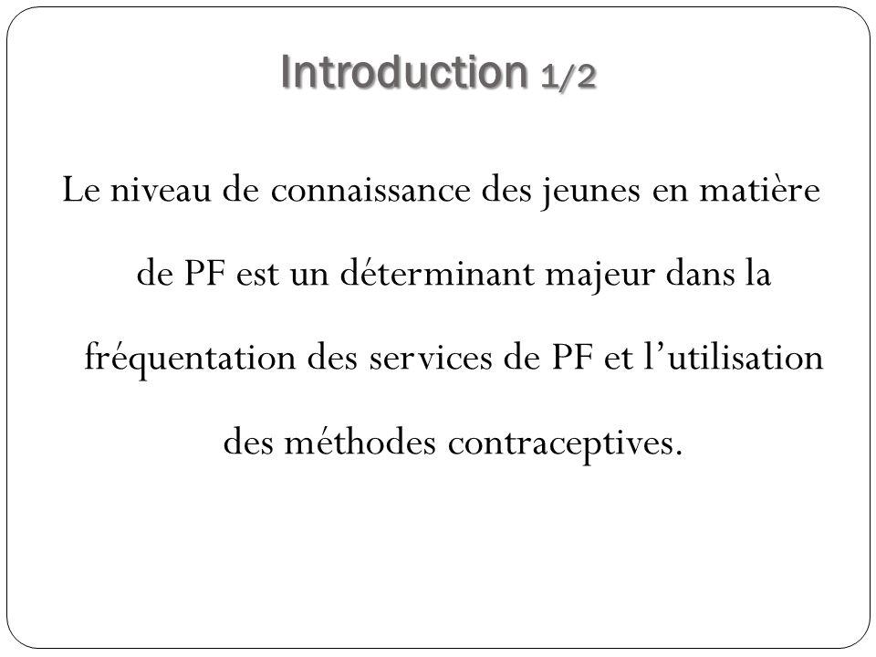 Introduction 1/2 Le niveau de connaissance des jeunes en matière de PF est un déterminant majeur dans la fréquentation des services de PF et lutilisat