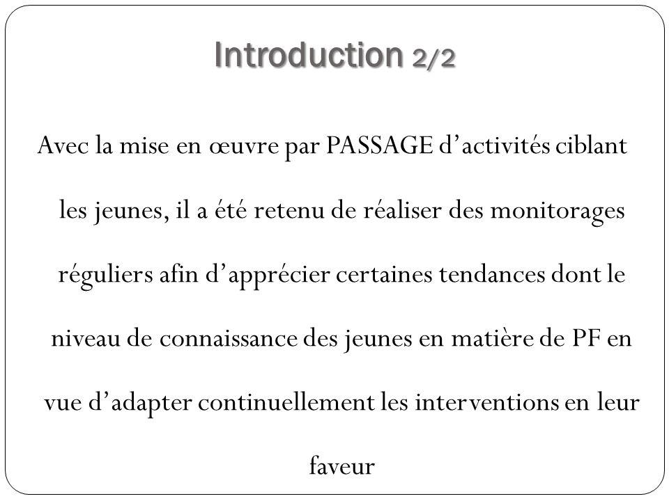 Introduction 2/2 Avec la mise en œuvre par PASSAGE dactivités ciblant les jeunes, il a été retenu de réaliser des monitorages réguliers afin dapprécie