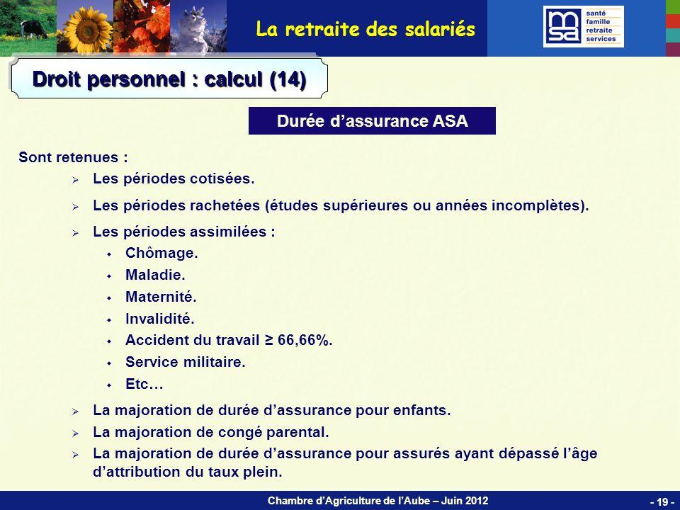 Chambre dAgriculture de lAube – Juin 2012 Sont retenues : Les périodes cotisées.