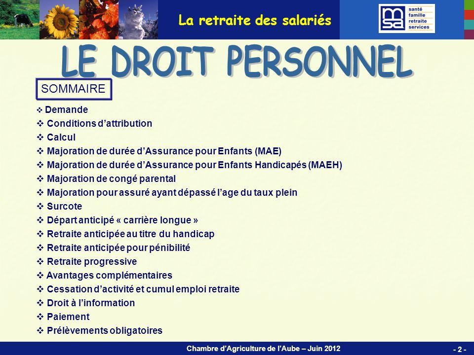 Chambre dAgriculture de lAube – Juin 2012 Demande obligatoire.