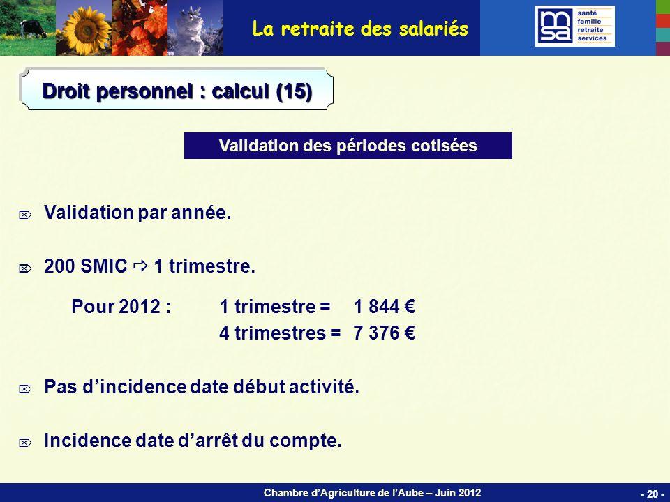 Chambre dAgriculture de lAube – Juin 2012 Validation par année.