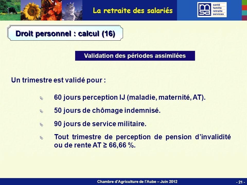 Chambre dAgriculture de lAube – Juin 2012 Un trimestre est validé pour : 60 jours perception IJ (maladie, maternité, AT).