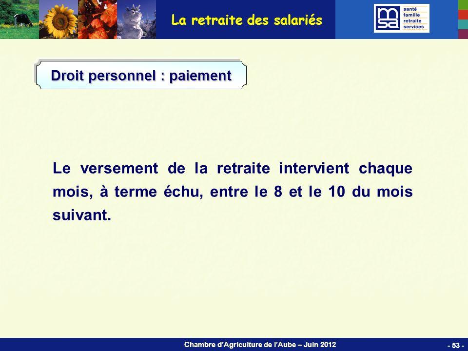 Chambre dAgriculture de lAube – Juin 2012 Le versement de la retraite intervient chaque mois, à terme échu, entre le 8 et le 10 du mois suivant.