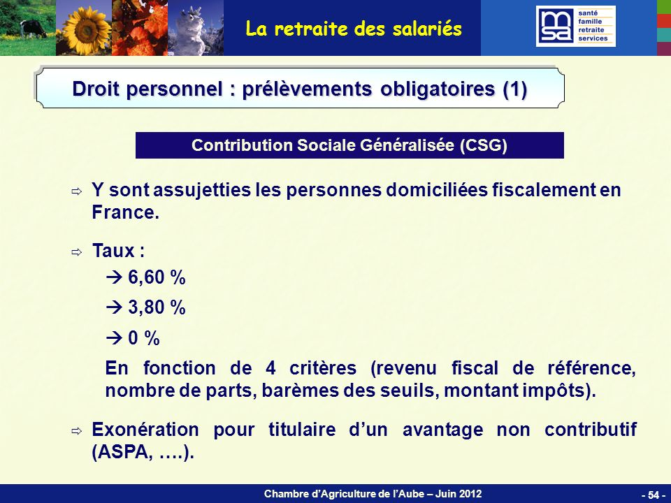 Chambre dAgriculture de lAube – Juin 2012 Y sont assujetties les personnes domiciliées fiscalement en France.