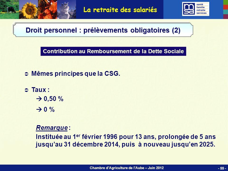 Chambre dAgriculture de lAube – Juin 2012 Mêmes principes que la CSG.