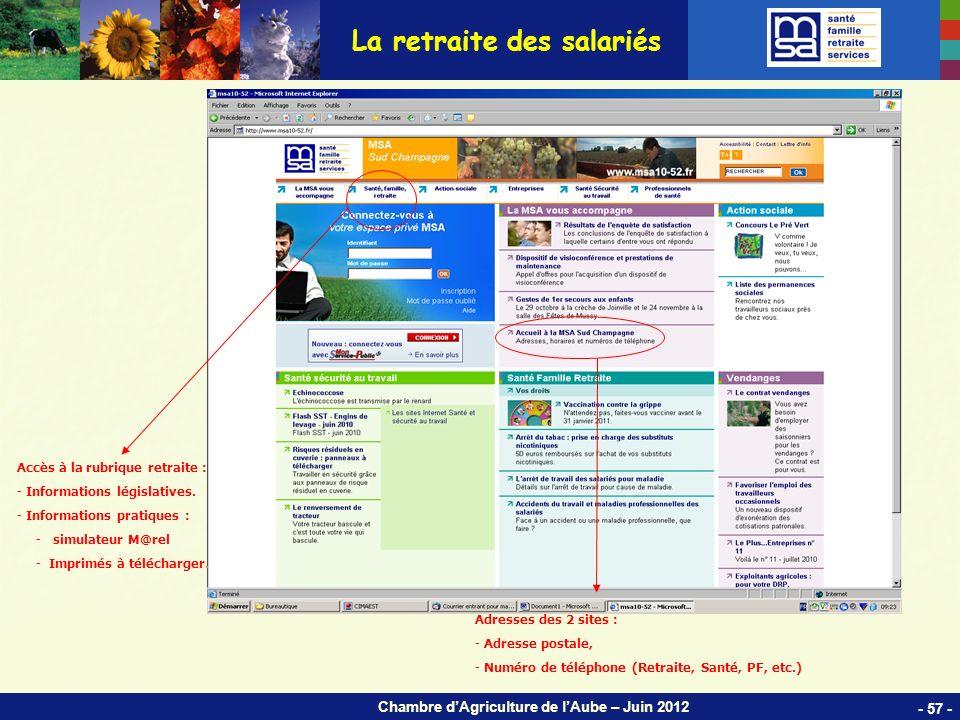 Chambre dAgriculture de lAube – Juin 2012 La retraite des salariés - 57 - Accès à la rubrique retraite : - Informations législatives.