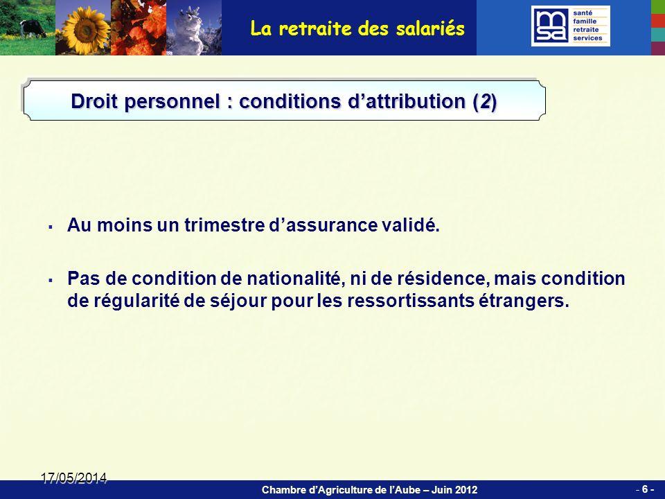 Chambre dAgriculture de lAube – Juin 2012 17/05/2014 Au moins un trimestre dassurance validé.