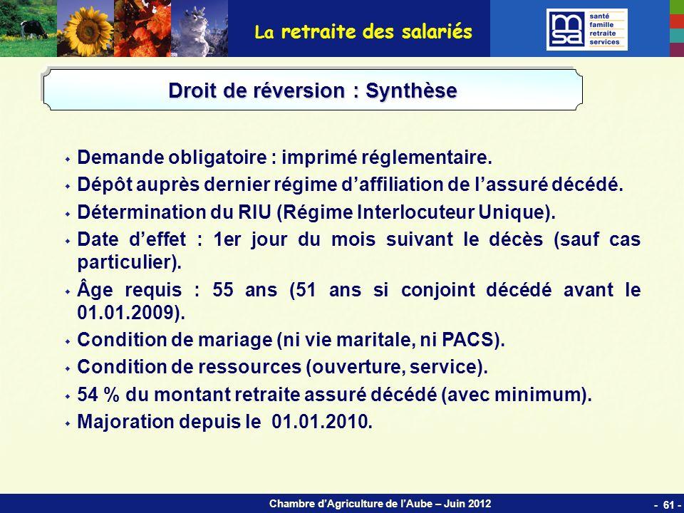 Chambre dAgriculture de lAube – Juin 2012 La retraite des salariés Demande obligatoire : imprimé réglementaire.