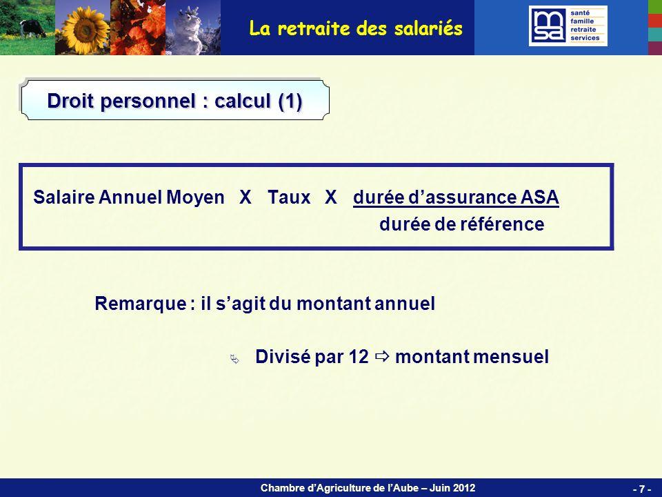 Chambre dAgriculture de lAube – Juin 2012 Sites et Agences de la MSA Sud Champagne 4 agences - 58 - 2 sites (dont le siège social à CHAUMONT) · Chaumont · Joinville · Langres · Bar sur Aube · Troyes · Arcis sur Aube