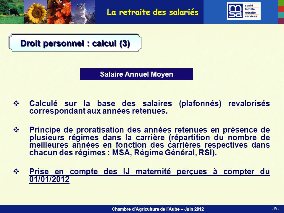 Chambre dAgriculture de lAube – Juin 2012 La retraite des salariés Droit personnel : droit à linformation (2) Calendrier de montée en charge : EIG - RIS - 50 -