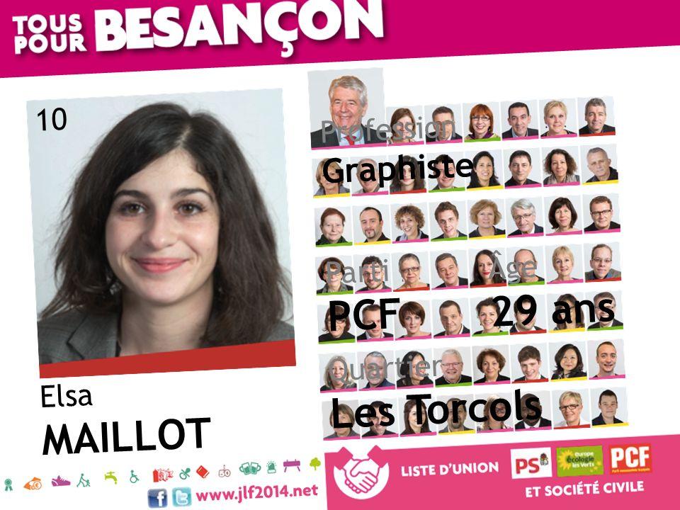 Elsa MAILLOT Âge 29 ans Quartier Les Torcols Parti PCF Profession Graphiste 10