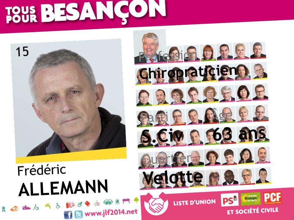 Frédéric ALLEMANN Âge 63 ans Quartier Velotte Parti S.Civ Profession Chiropraticien 15