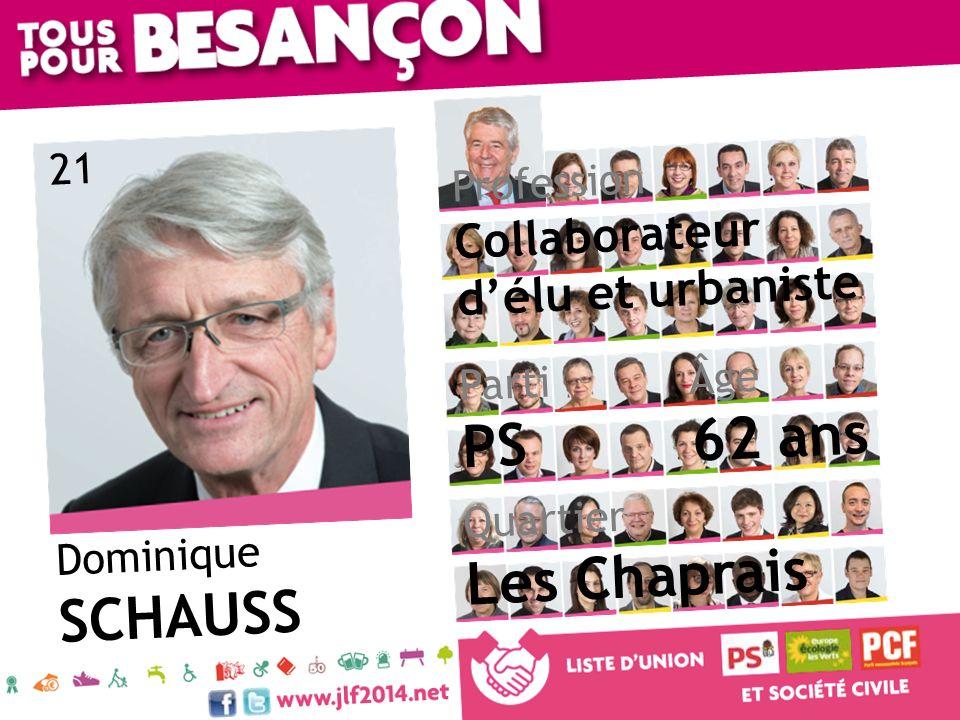Dominique SCHAUSS Âge 62 ans Quartier Les Chaprais Parti PS Profession Collaborateur délu et urbaniste 21
