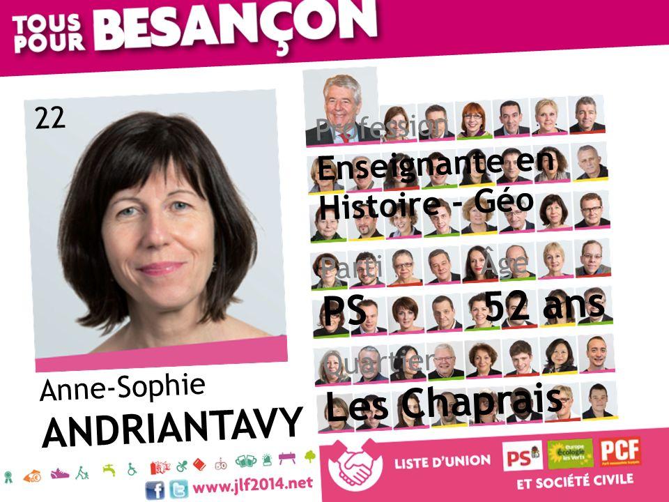 Anne-Sophie ANDRIANTAVY Âge 52 ans Quartier Les Chaprais Parti PS Profession Enseignante en Histoire - Géo 22