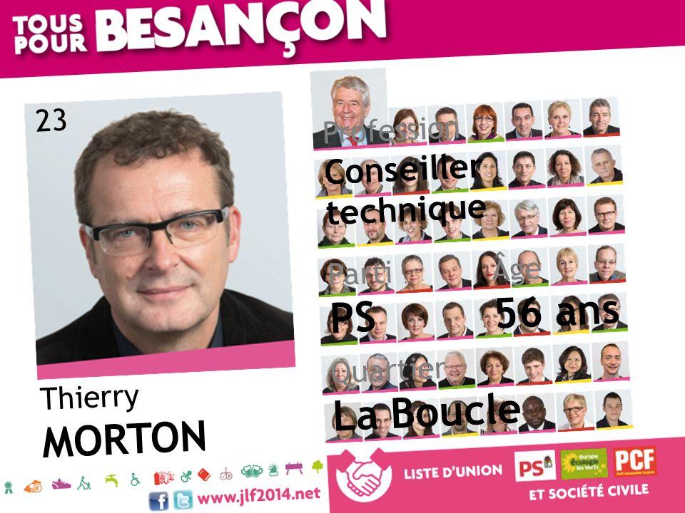 Thierry MORTON Âge 56 ans Quartier La Boucle Parti PS Profession Conseiller technique 23