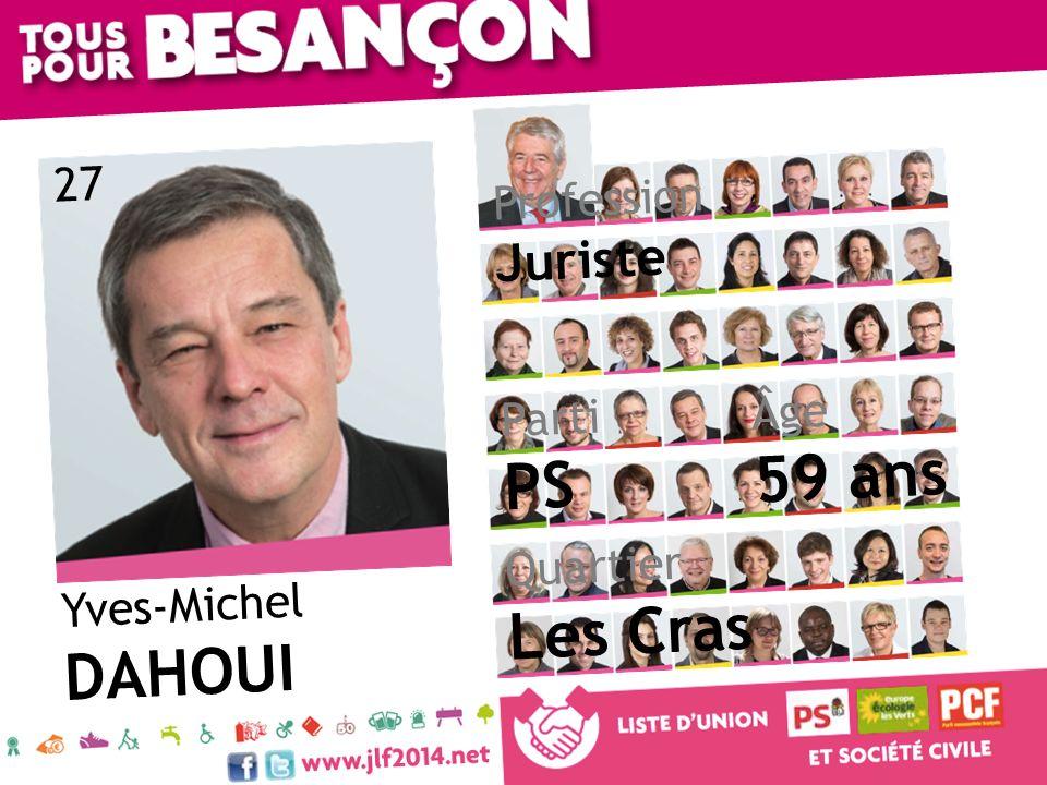 Yves-Michel DAHOUI Âge 59 ans Quartier Les Cras Parti PS Profession Juriste 27