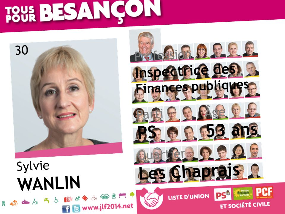 Sylvie WANLIN Âge 53 ans Quartier Les Chaprais Parti PS Profession Inspectrice des Finances publiques 30