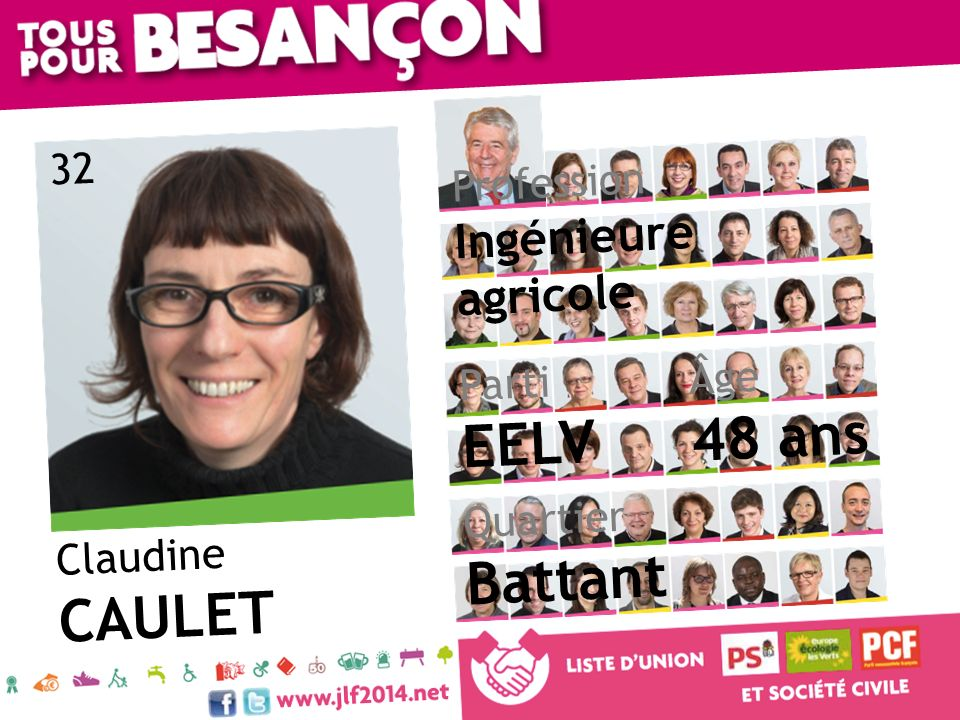 Claudine CAULET Âge 48 ans Quartier Battant Parti EELV Profession Ingénieure agricole 32