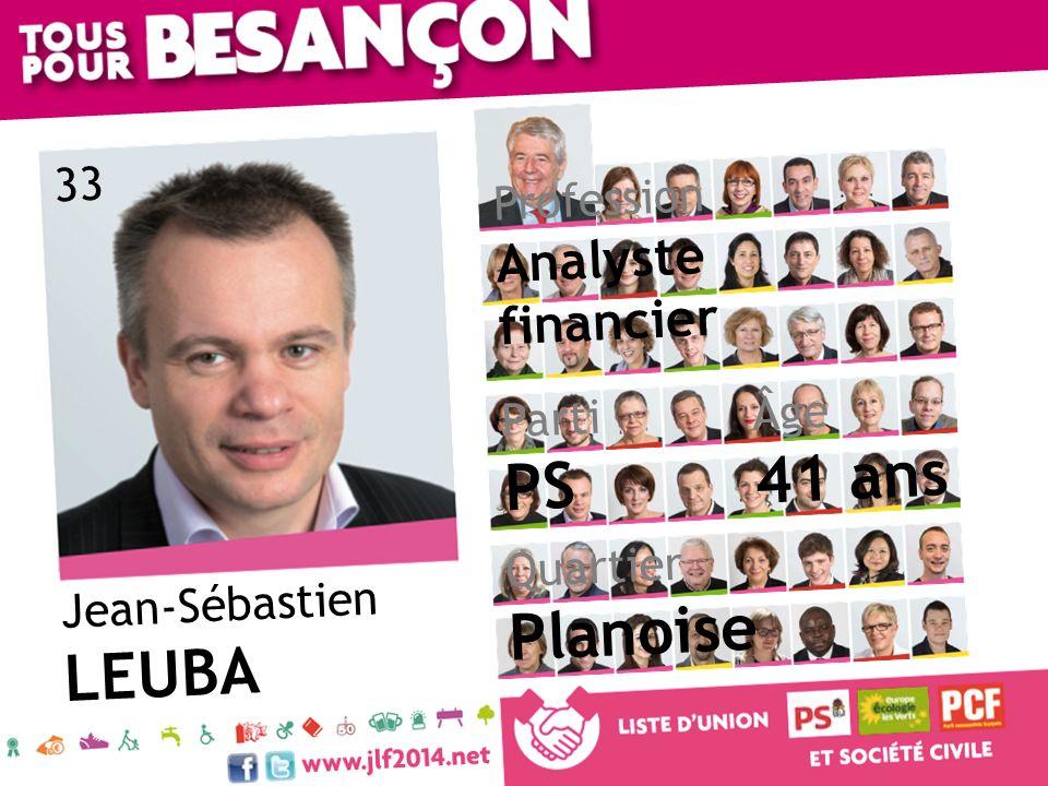 Jean-Sébastien LEUBA Âge 41 ans Quartier Planoise Parti PS Profession Analyste financier 33