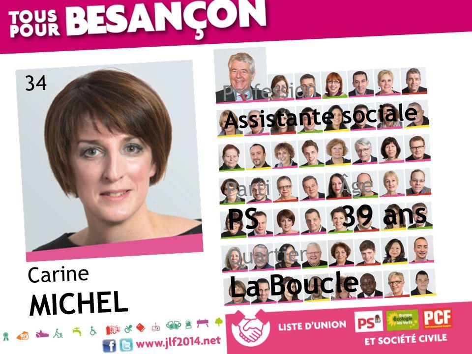 Carine MICHEL Âge 39 ans Quartier La Boucle Parti PS Profession Assistante sociale 34