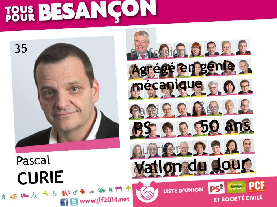 Pascal CURIE Âge 50 ans Quartier Vallon du Jour Parti PS Profession Agrégé en génie mécanique 35