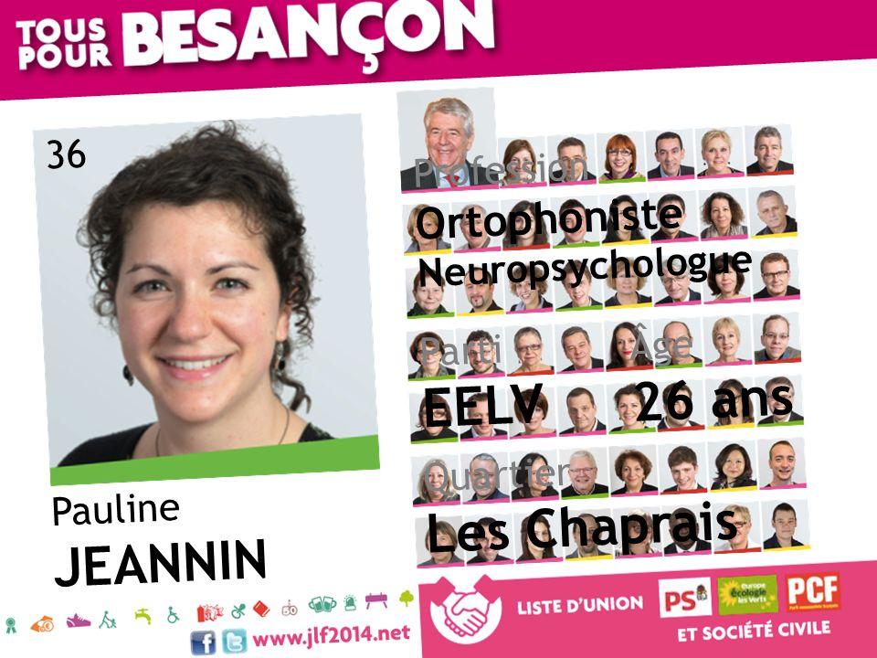 Pauline JEANNIN Âge 26 ans Quartier Les Chaprais Parti EELV Profession Ortophoniste Neuropsychologue 36