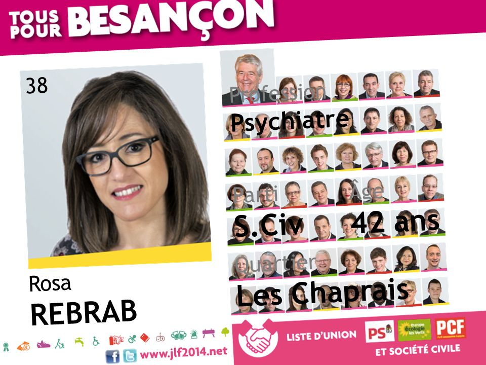 Rosa REBRAB Âge 42 ans Quartier Les Chaprais Parti S.Civ Profession Psychiatre 38