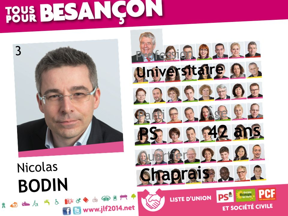Nicolas BODIN Âge 42 ans Quartier Chaprais Parti PS Profession Universitaire 3