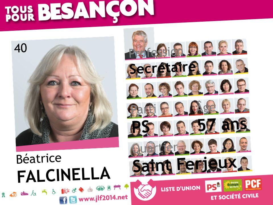 Béatrice FALCINELLA Âge 57 ans Quartier Saint Ferjeux Parti PS Profession Secrétaire 40