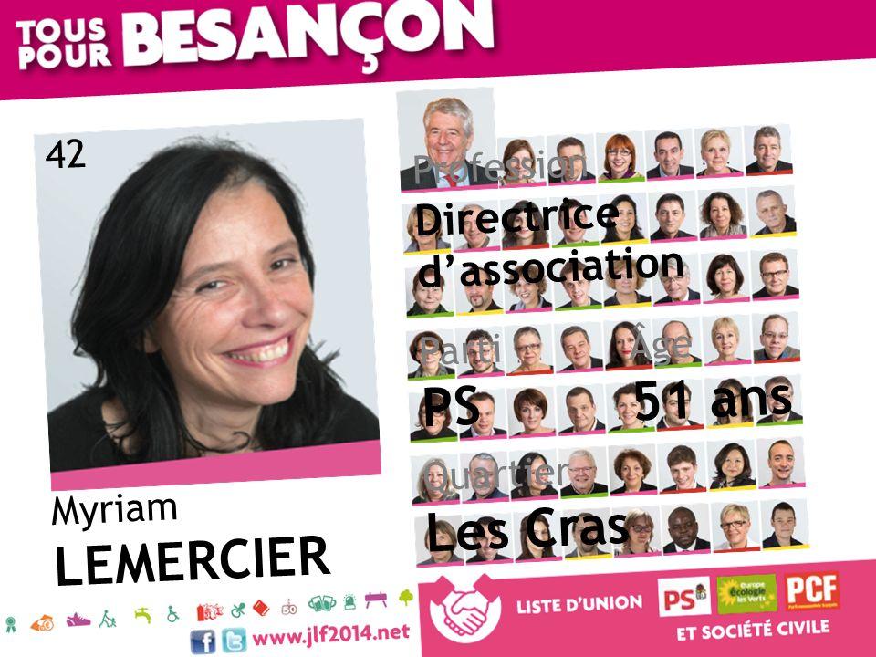 Myriam LEMERCIER Âge 51 ans Quartier Les Cras Parti PS Profession Directrice dassociation 42