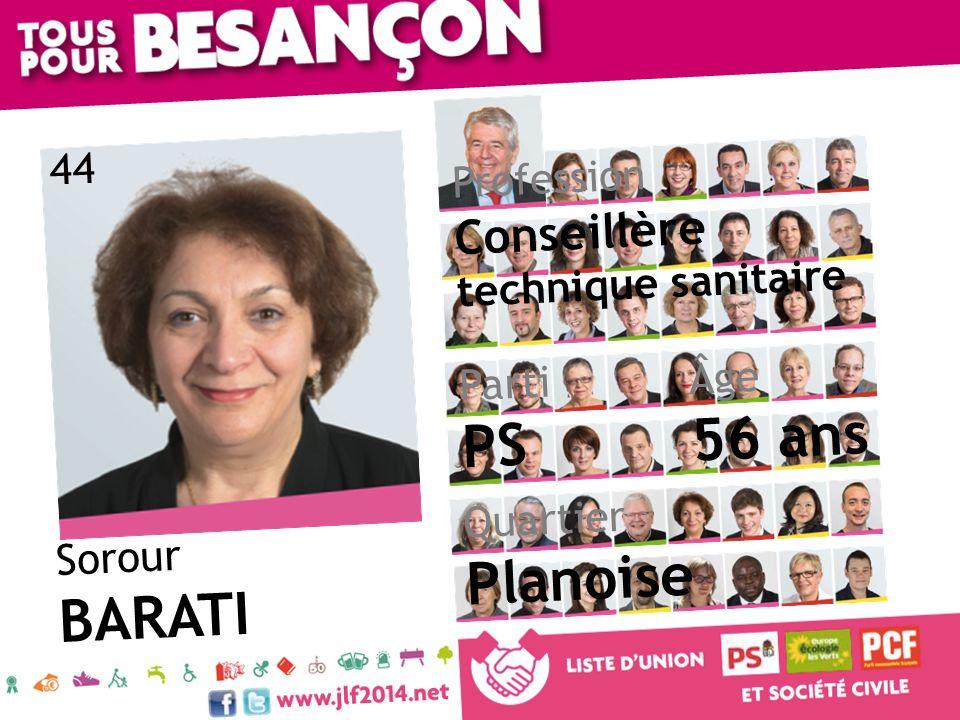 Sorour BARATI Âge 56 ans Quartier Planoise Parti PS Profession Conseillère technique sanitaire 44