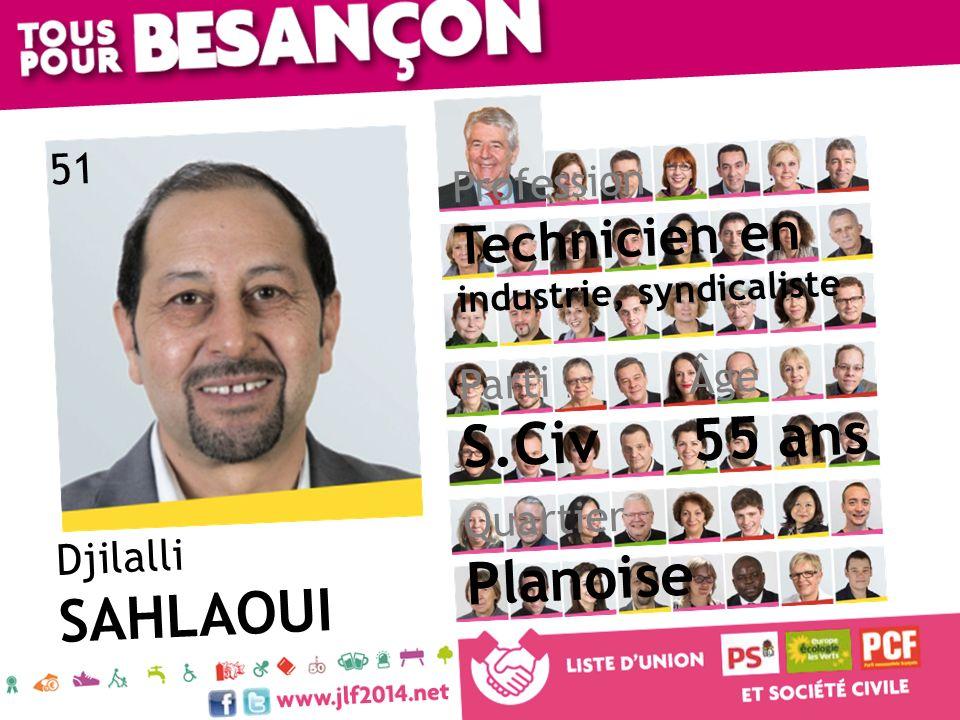 Djilalli SAHLAOUI Âge 55 ans Quartier Planoise Parti S.Civ Profession Technicien en industrie, syndicaliste 51