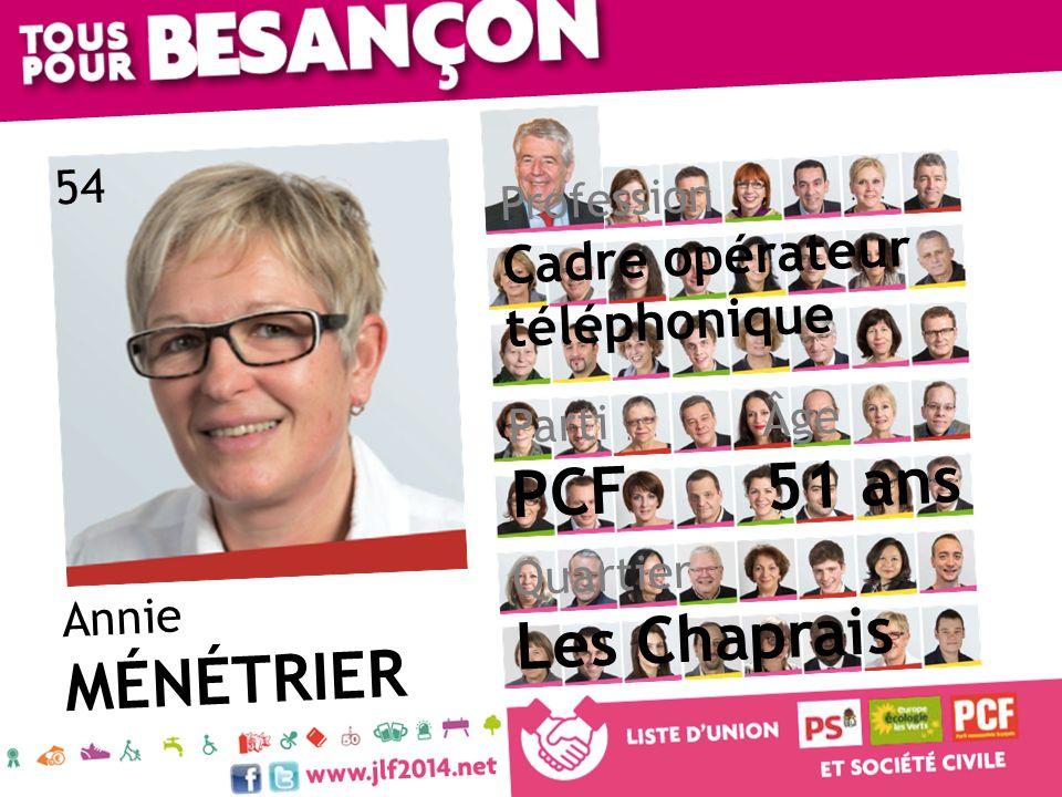 Annie MÉNÉTRIER Âge 51 ans Quartier Les Chaprais Parti PCF Profession Cadre opérateur téléphonique 54