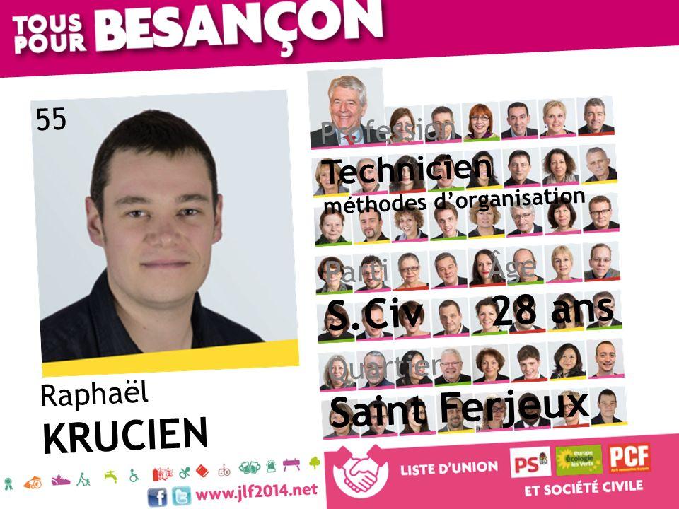 Raphaël KRUCIEN Âge 28 ans Quartier Saint Ferjeux Parti S.Civ Profession Technicien méthodes dorganisation 55