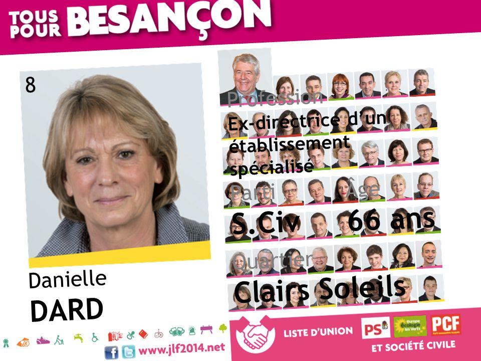 Danielle DARD Âge 66 ans Quartier Clairs Soleils Parti S.Civ Profession Ex-directrice dun établissement spécialisé 8
