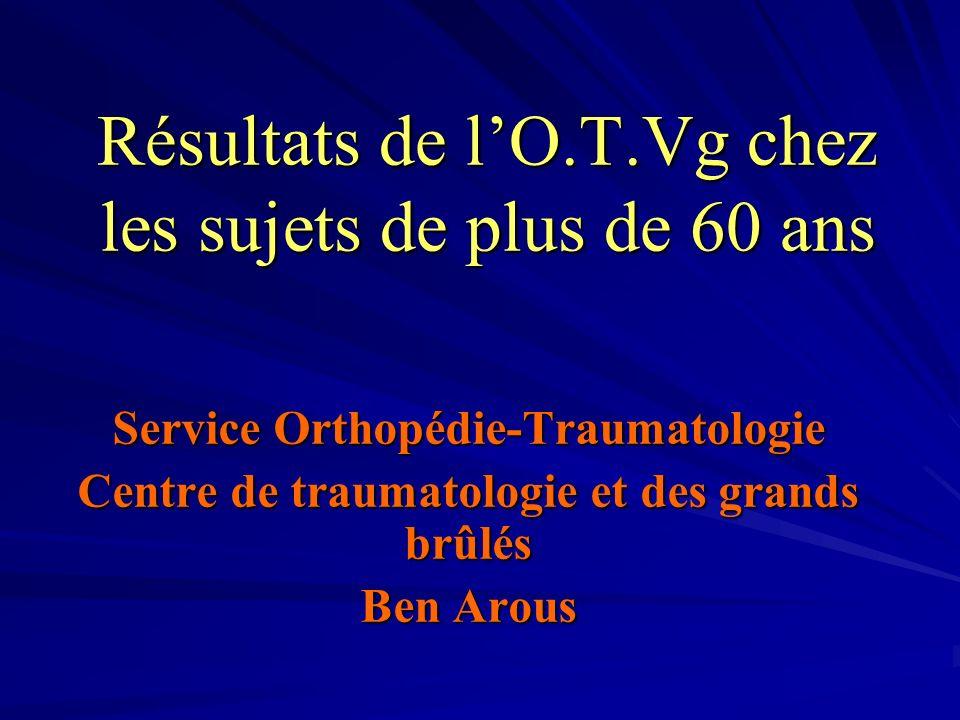 Résultats de lO.T.Vg chez les sujets de plus de 60 ans Service Orthopédie-Traumatologie Centre de traumatologie et des grands brûlés Ben Arous