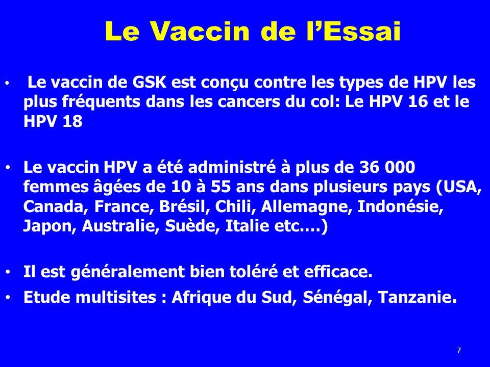 7 Le Vaccin de lEssai Le vaccin de GSK est conçu contre les types de HPV les plus fréquents dans les cancers du col: Le HPV 16 et le HPV 18 Le vaccin