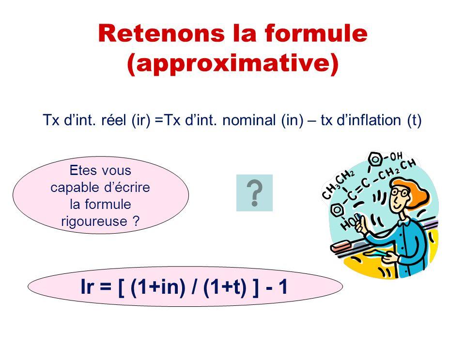 Retenons la formule (approximative) Tx dint.réel (ir) =Tx dint.