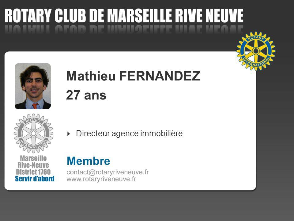 Mathieu FERNANDEZ 27 ans Directeur agence immobilière Membre