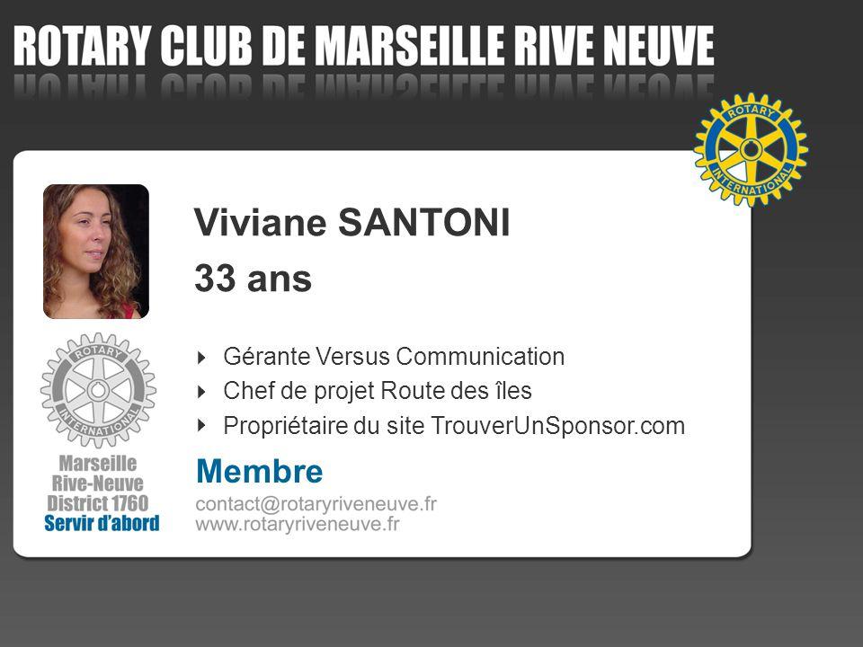 Gérante Versus Communication Chef de projet Route des îles Propriétaire du site TrouverUnSponsor.com Membre Viviane SANTONI 33 ans
