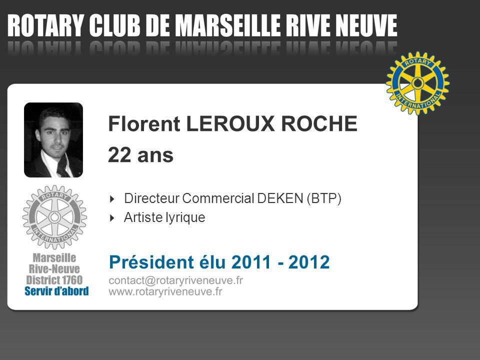 Florent LEROUX ROCHE 22 ans Directeur Commercial DEKEN (BTP) Artiste lyrique Président élu 2011 - 2012
