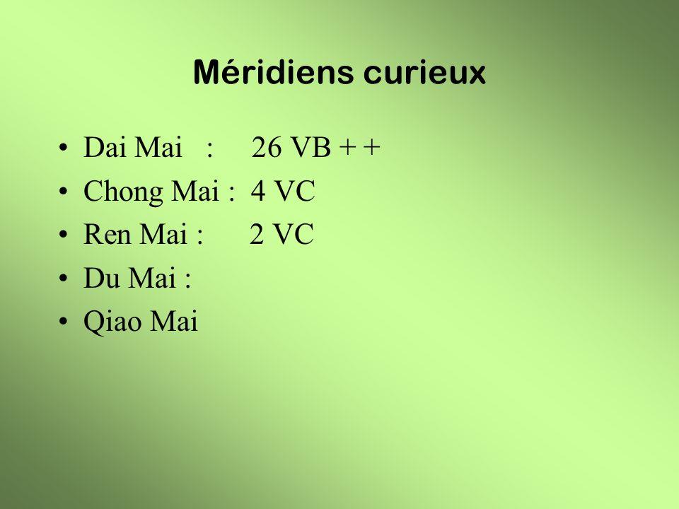 Méridiens curieux Dai Mai : 26 VB + + Chong Mai : 4 VC Ren Mai : 2 VC Du Mai : Qiao Mai