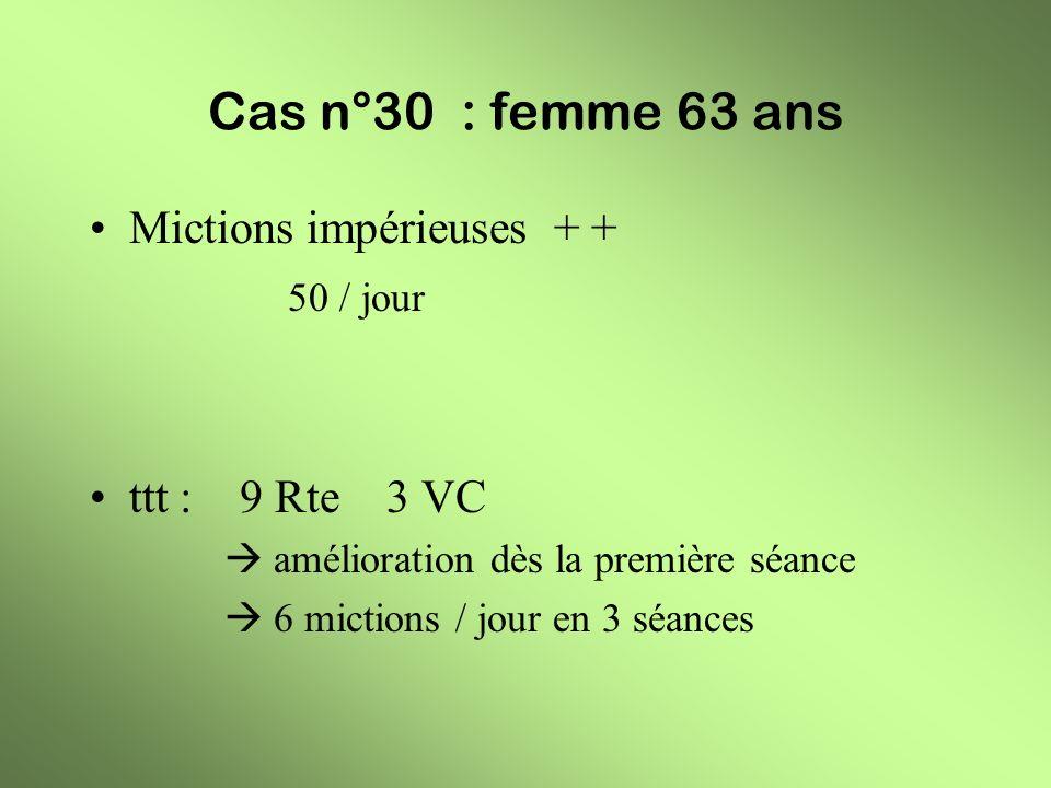 Cas n°30 : femme 63 ans Mictions impérieuses + + 50 / jour ttt : 9 Rte 3 VC amélioration dès la première séance 6 mictions / jour en 3 séances