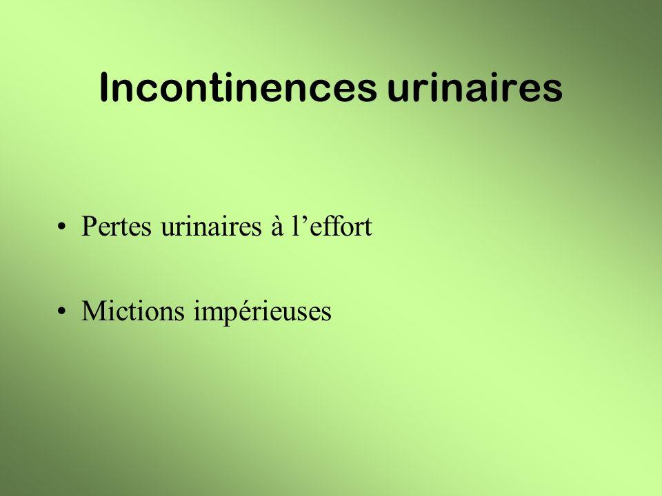 Patientes traitées en 2004 35 femmes avec moyenne dâge : 55 ans - pertes à leffort : 27 - mictions urgentes : 8 4 VC : 11 pertes à leffort (dont 3 avec pollakiurie +) 3 mictions urgentes 2 VC : 4 pertes à leffort 3 VC : 2 pertes à leffort 1 mictions urgentes 26VB : 4 pertes à leffort 1 pertes à leffort + mictions impérieuses ( SEP )